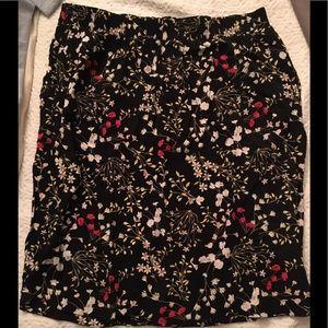 A Black floral skirt